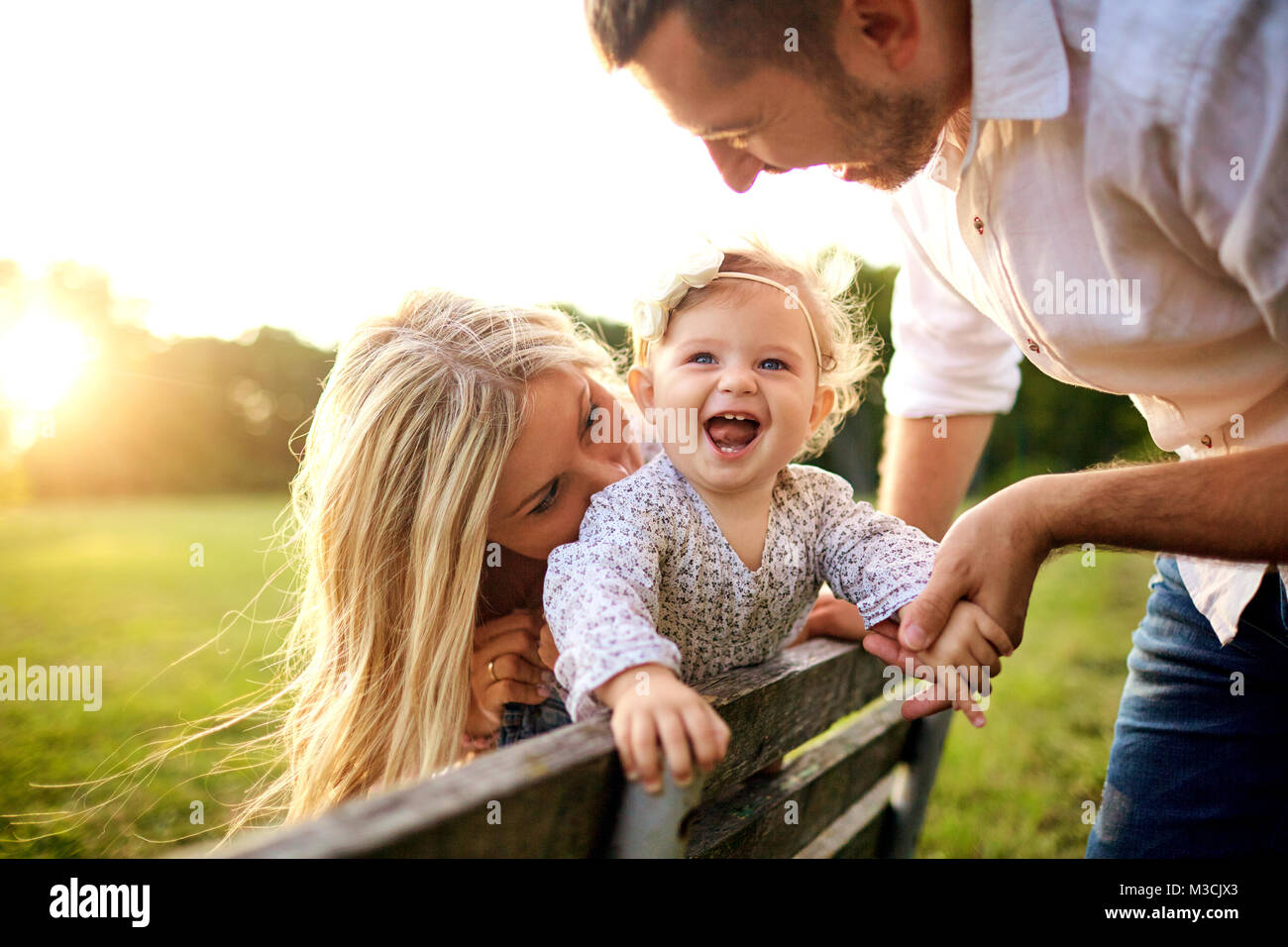 Happy family in a park in summer autumn.  - Stock Image
