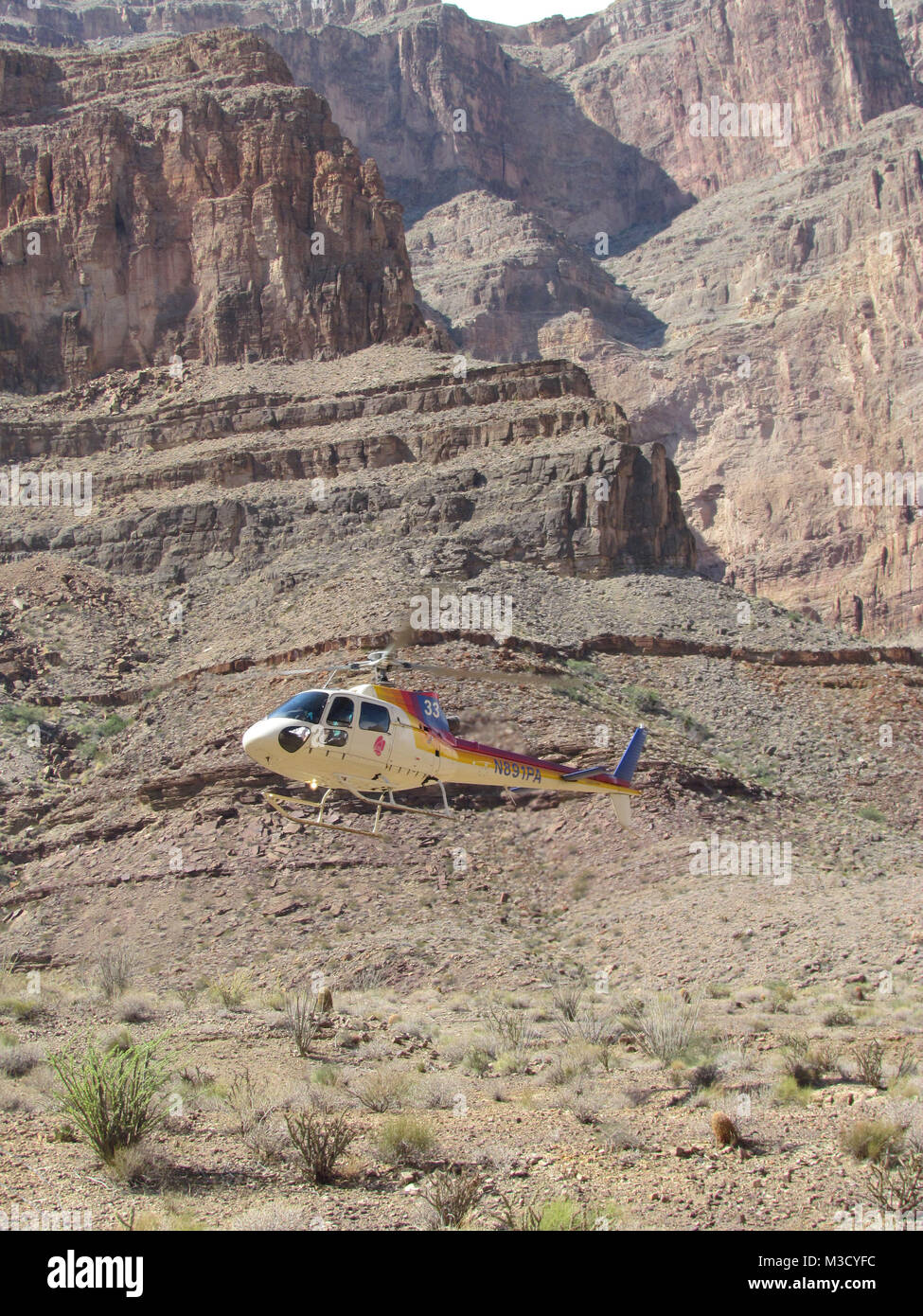 Pappilon helicopter tour at the Grand Canyon  Arizona, USA. - Stock Image