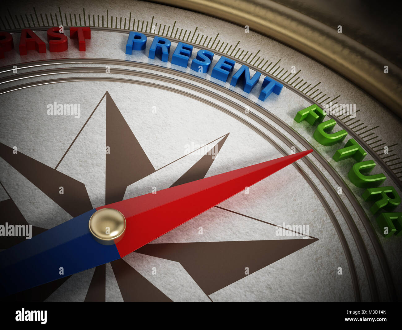 Compass needle pointing future among past and present. 3D illustration. - Stock Image