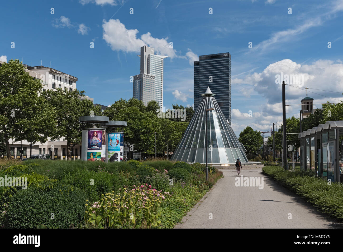 Skyscrapers and subway station at the Friedrich Ebert Park facility in Frankfurt, Germany - Stock Image