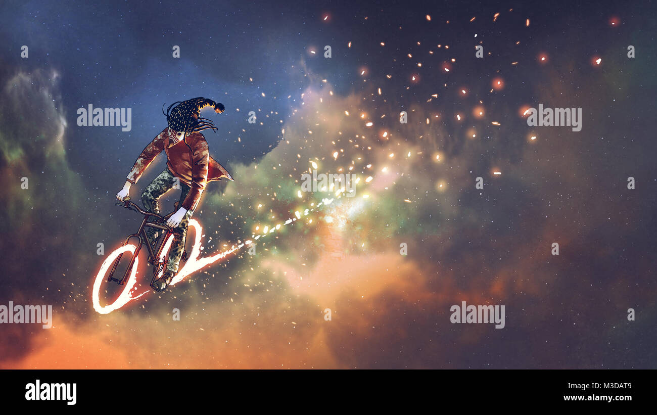 man with fancy clothes riding bicycle with glowing wheels in outer space, digital art style, illustration painting - Stock Image