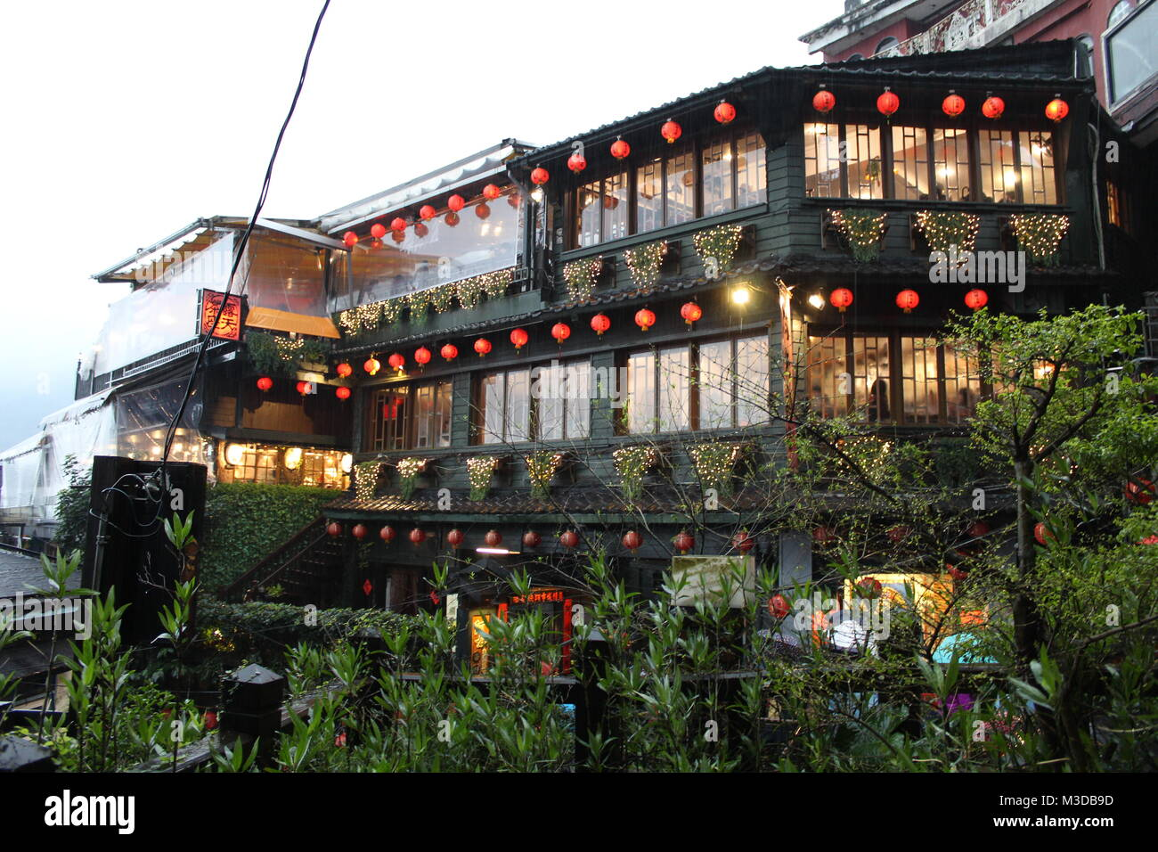 Teahouse in Jiufen, Taiwan on a rainy afternoon. Inspiration for