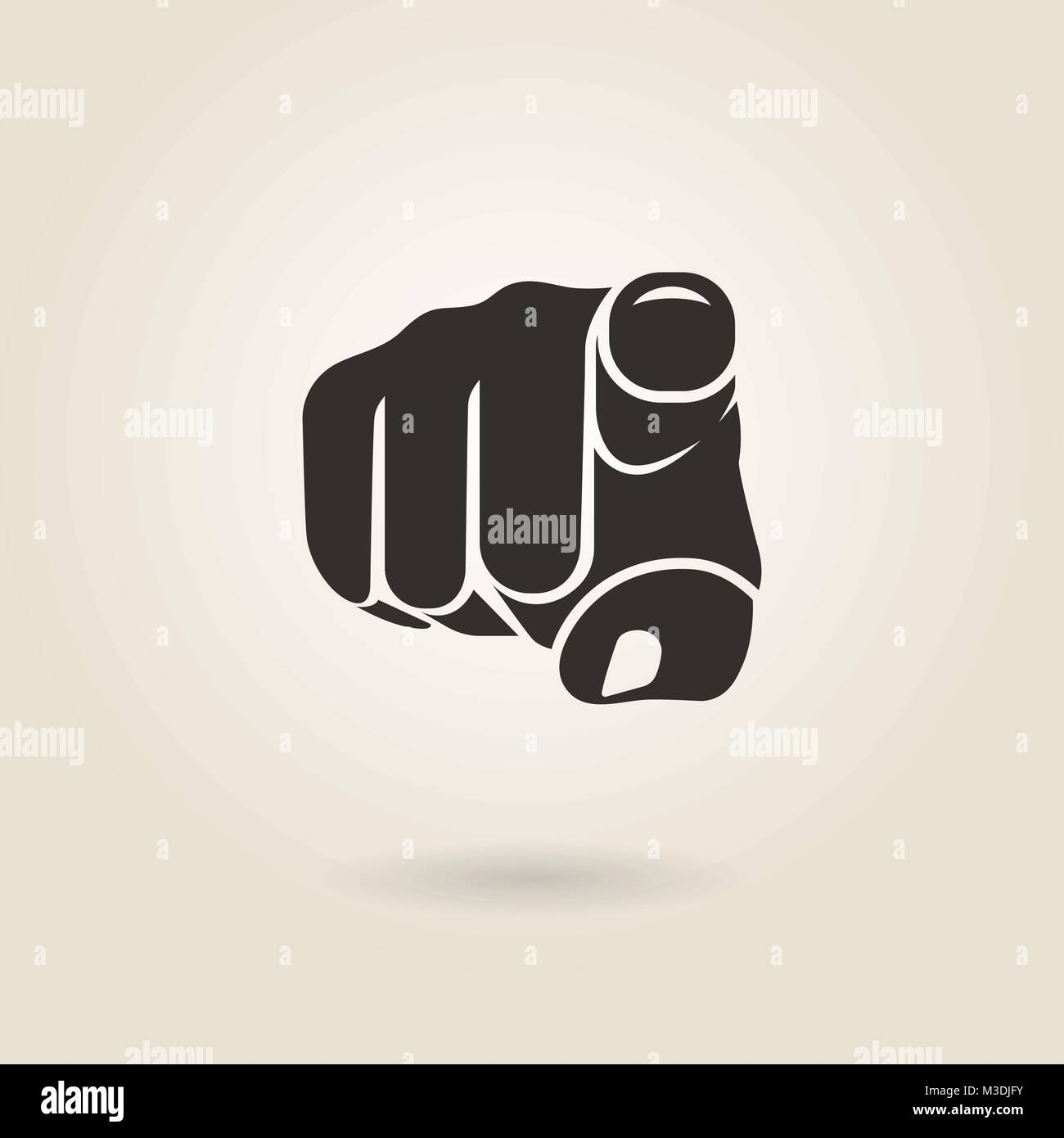 gesture pointing finger on a light background - Stock Vector