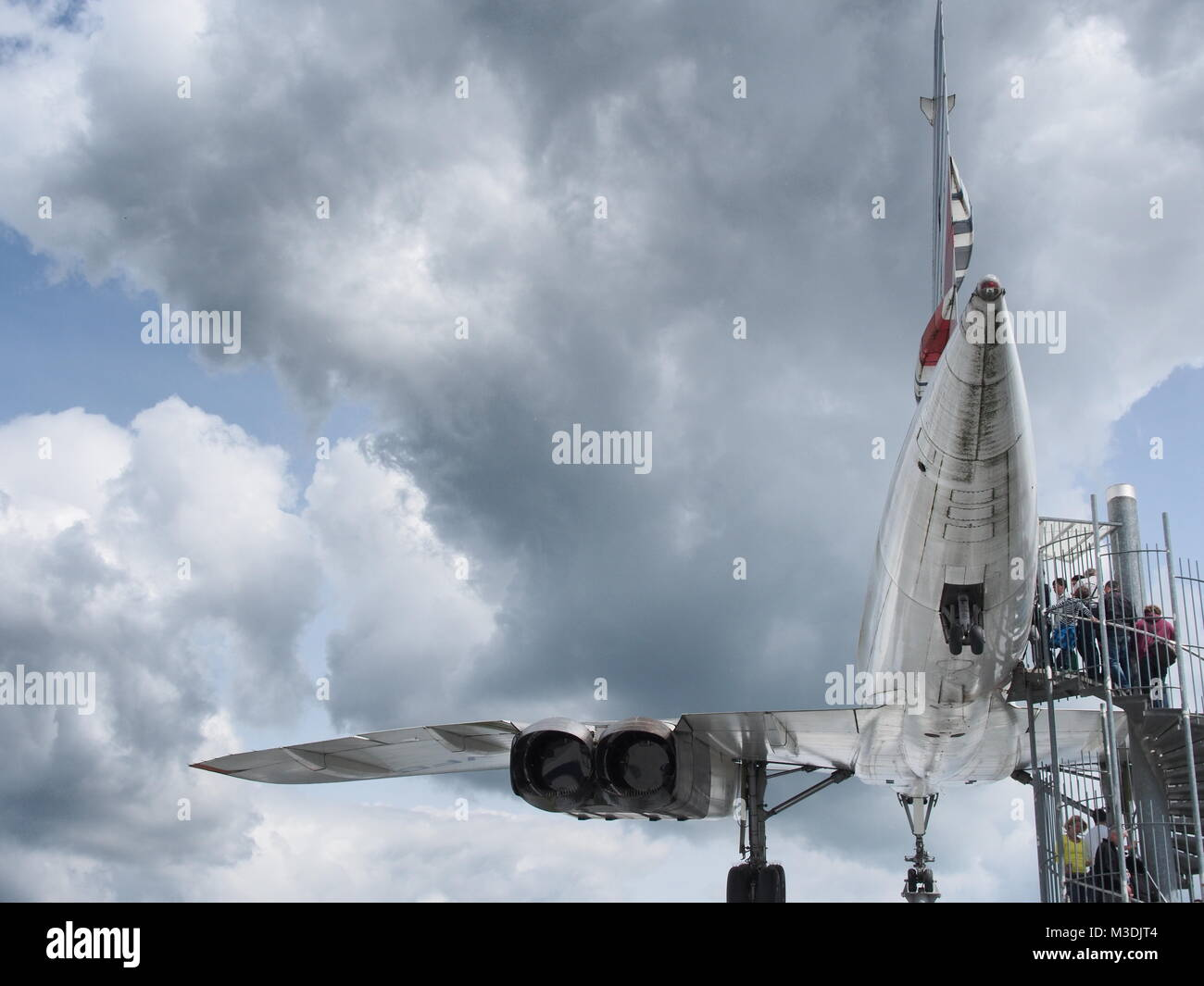 Tourists waiting for their turn to visit the Concorde in Sinsheim technology museum - Stock Image