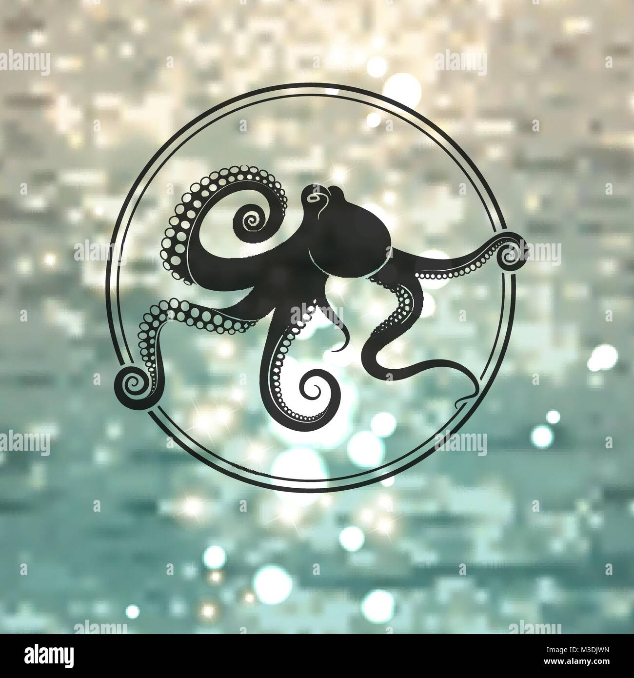octopus logo on the sea background - Stock Vector