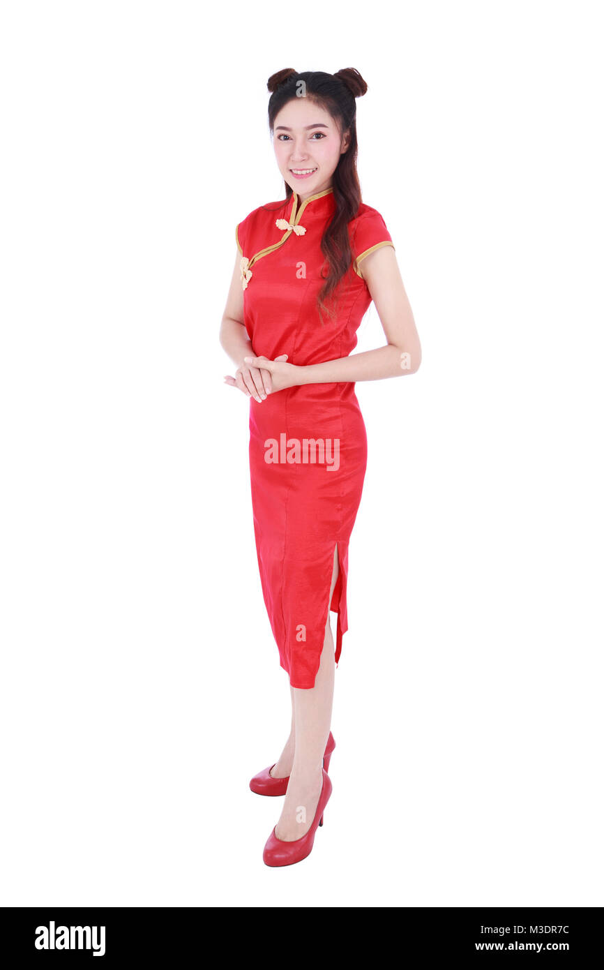 b875d0e1c beautiful woman wear red cheongsam in concept of happy chinese new year  isolated on white background