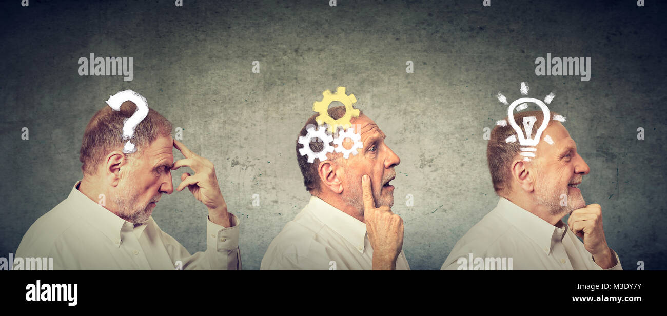 Emotional intelligence. Side view of an elderly man thoughtful, thinking, finding solution with gear mechanism, - Stock Image