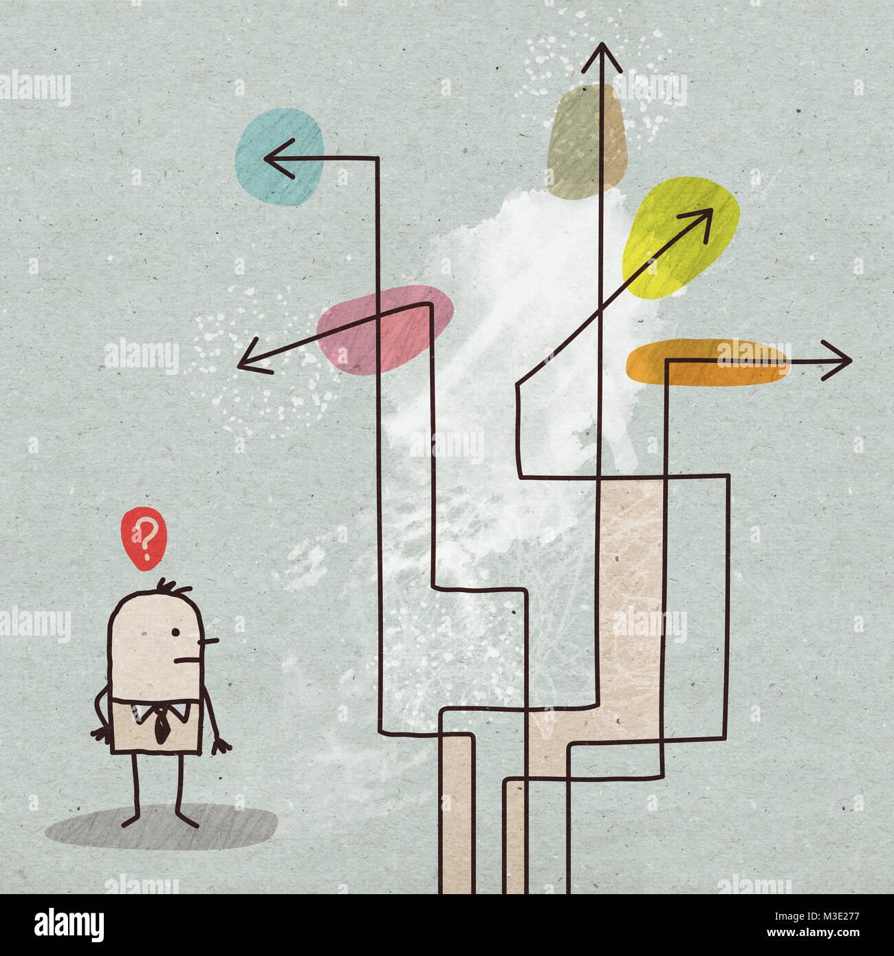 Cartoon Businessman Choosing a Direction - Stock Image