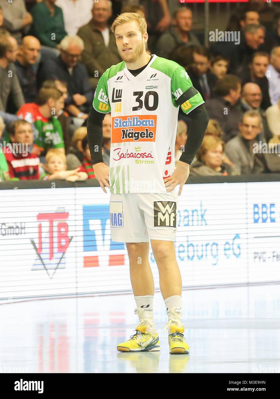DKB Handball-Bundesliga 2015-2016,  SC Magdeburg gegen Frisch Auf! Göppingen - Stock Image