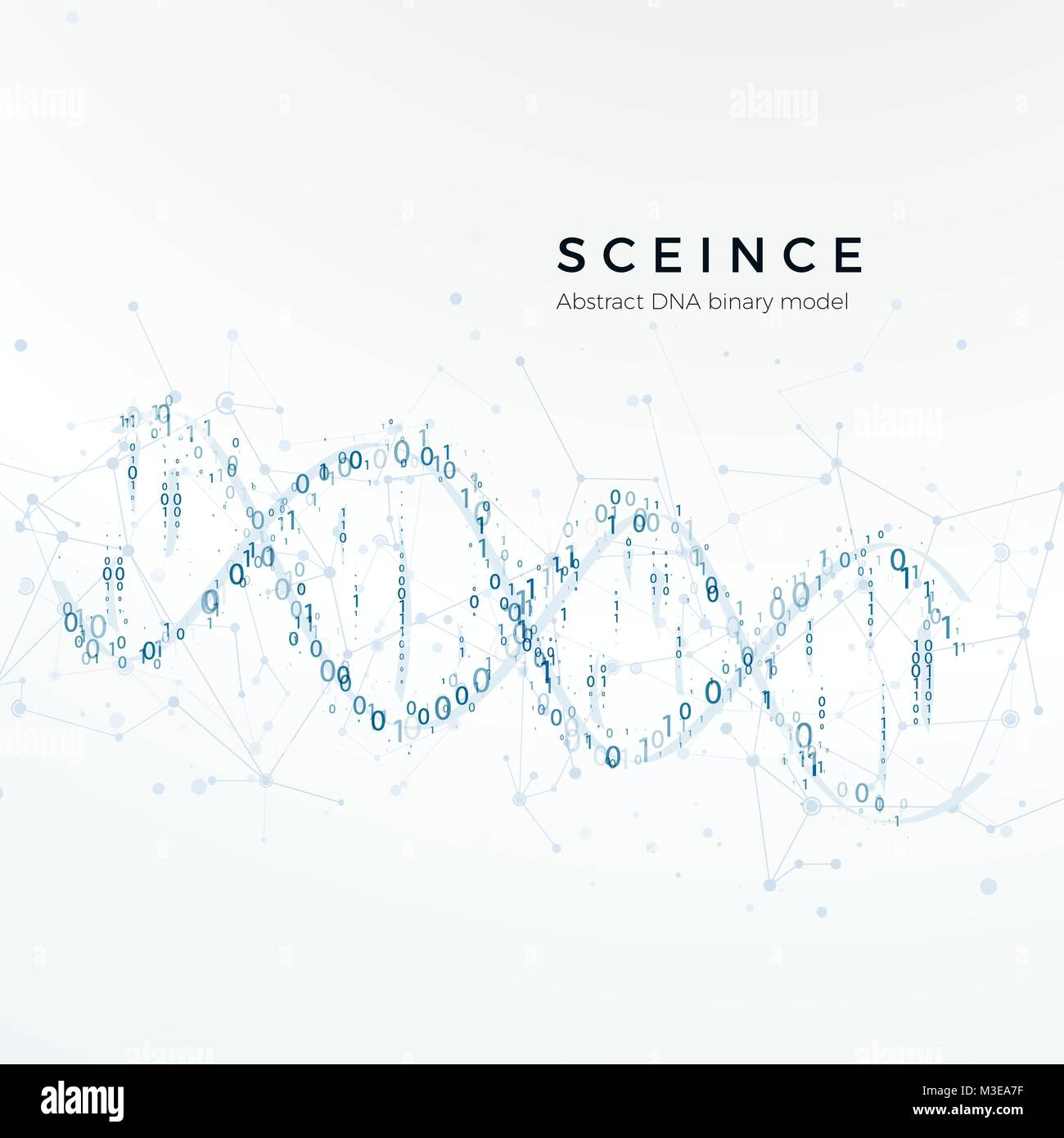 Abstract DNA binary model. Genetic code. Science and futuristic concept. vector illustration isolated on white - Stock Image