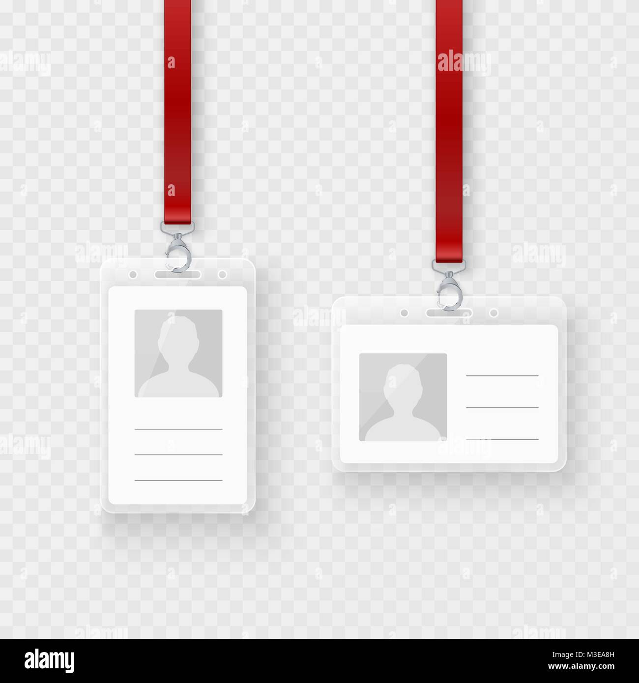 Identification personal blank, plastic id cards set with clasp and lanyard. Empty ID plastic card design. Vector - Stock Image
