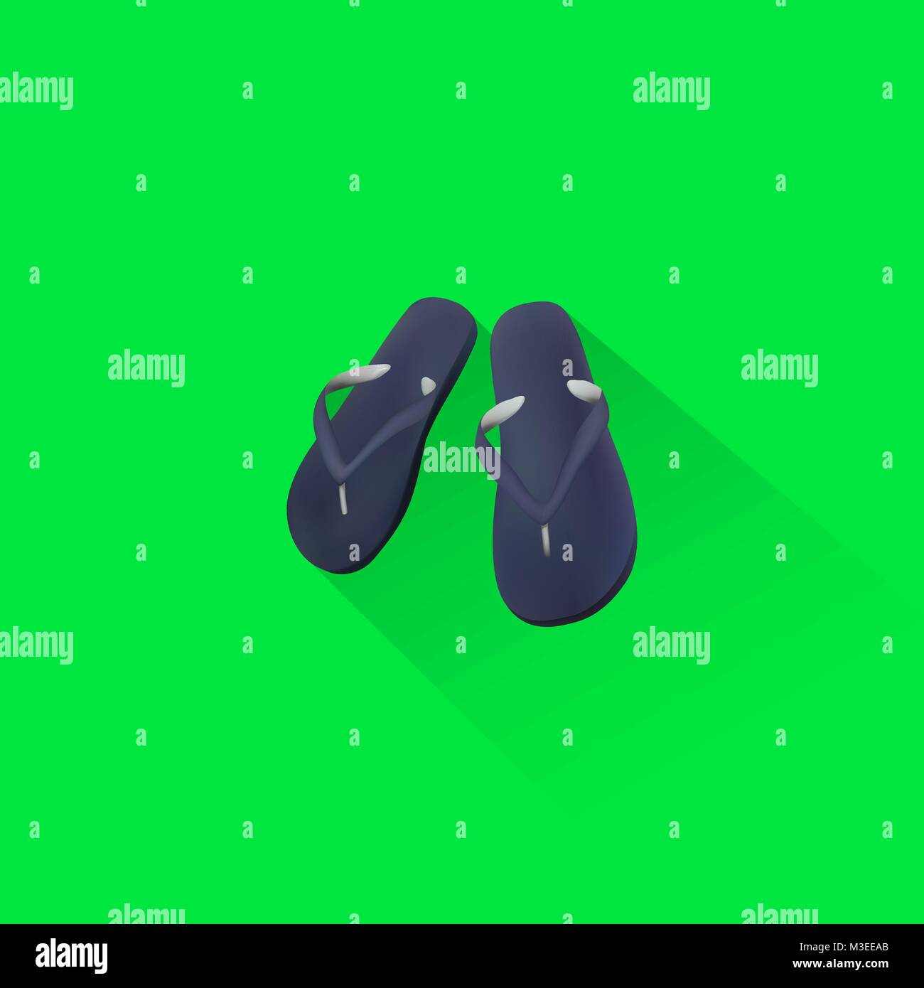 Simple Beach Sandal Icon On Green Background, Vector, Illustration, Eps File - Stock Vector
