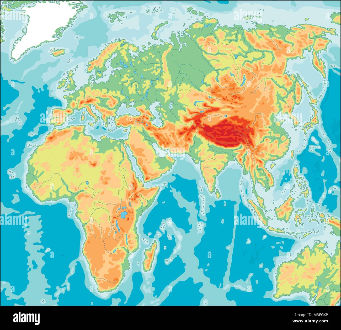Asia centered Physical World Map - Stock Image