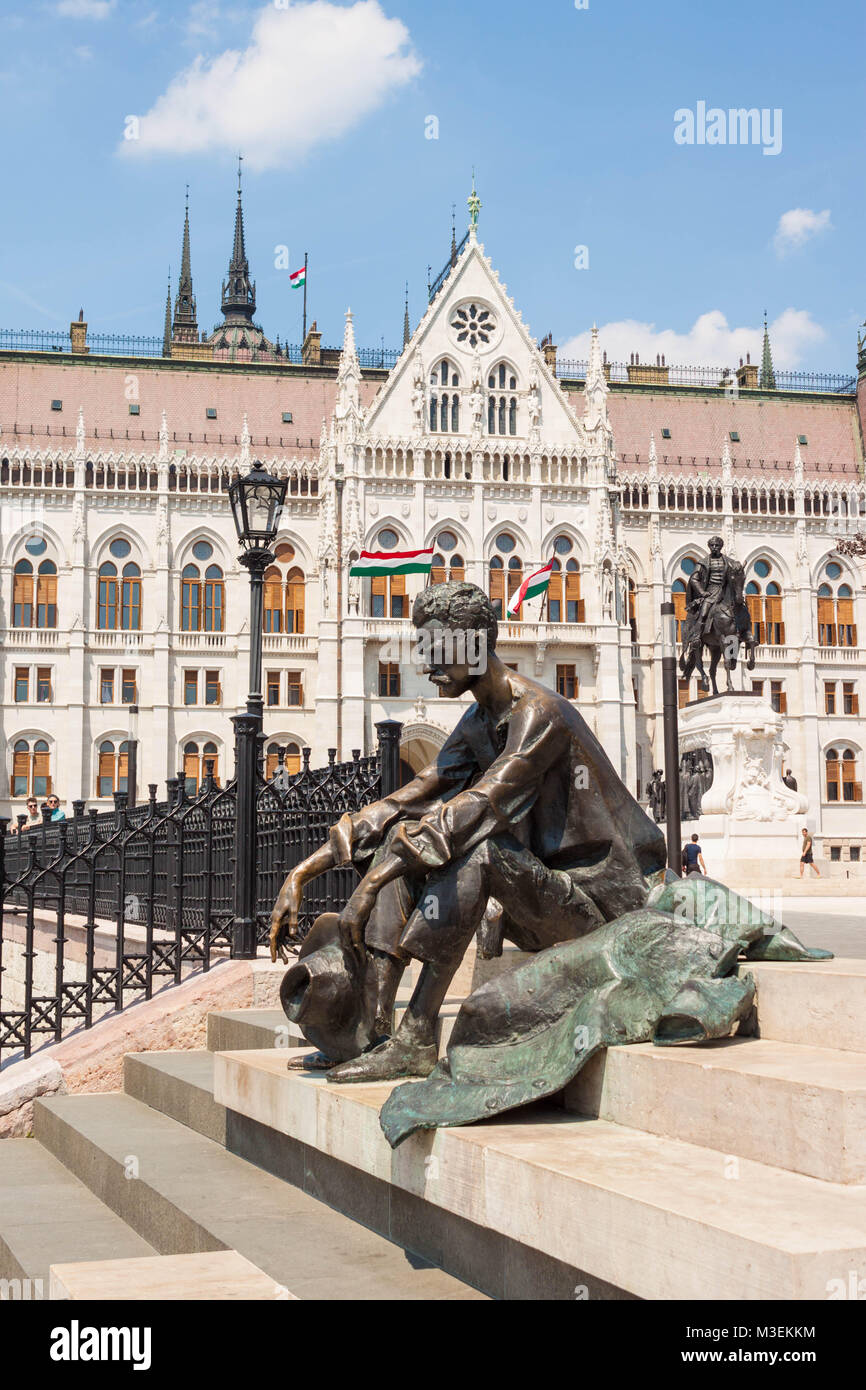 Budapest, Hungary - June 4, 2017: Sitting sculptural portrait of hungarian poet Attila Jozsef placed on the stairs Stock Photo