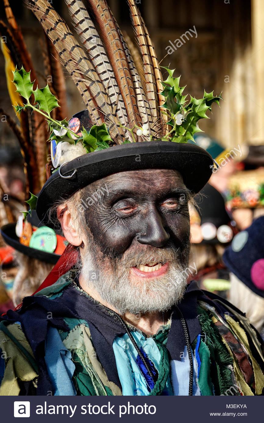 Morris Dancers at Mummers Parade, Gloucester, UK - Stock Image
