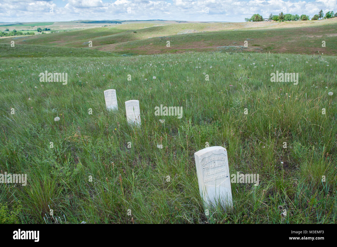 Crow Agency, MT - July 6, 2010: Markers show where US Soldiers fell during the Battle of Little Bighorn. Stock Photo