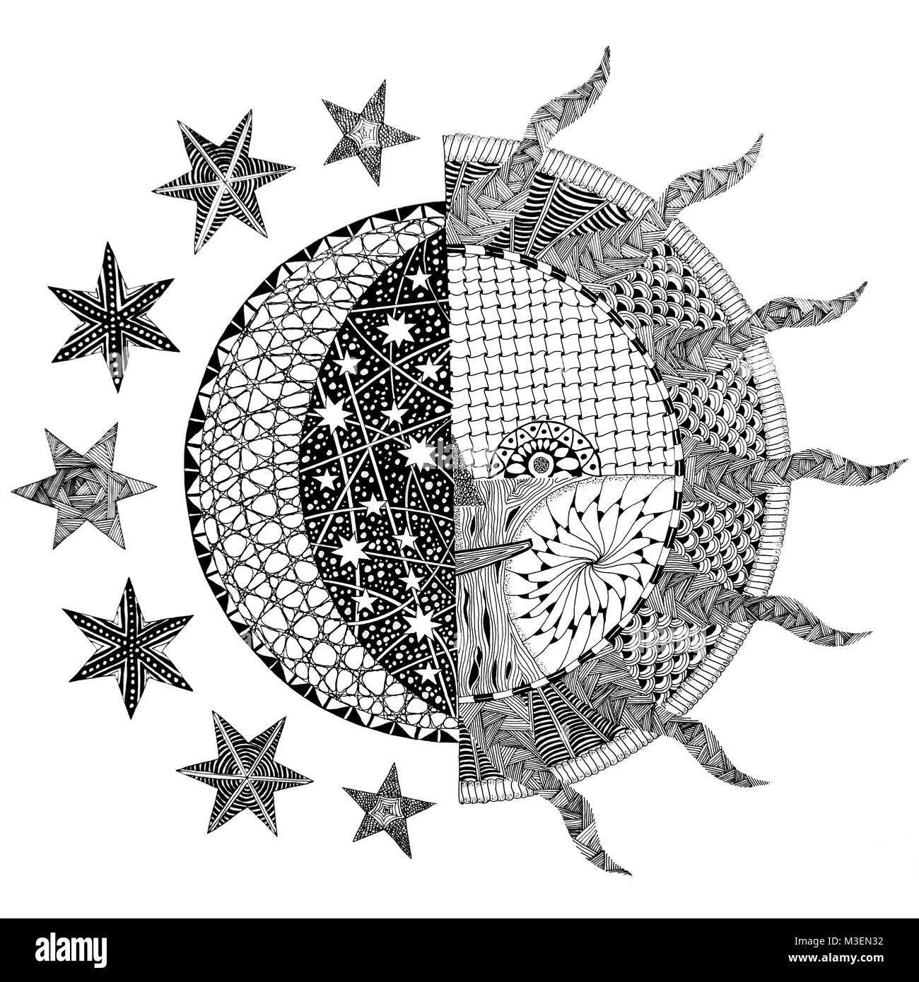 Moon and Sun Zentangle / Doodle Design - Stock Image