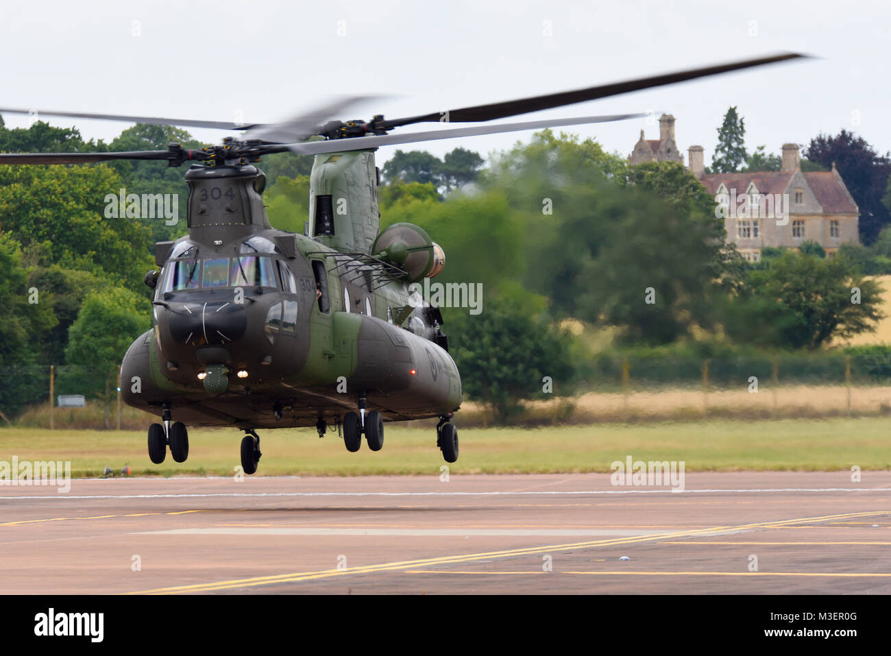 Boeing CH-47 CH-147 Chinook hover taxiing at RAF Fairford in the Cotswolds. A CH-47F CH-147F variant - Stock Image