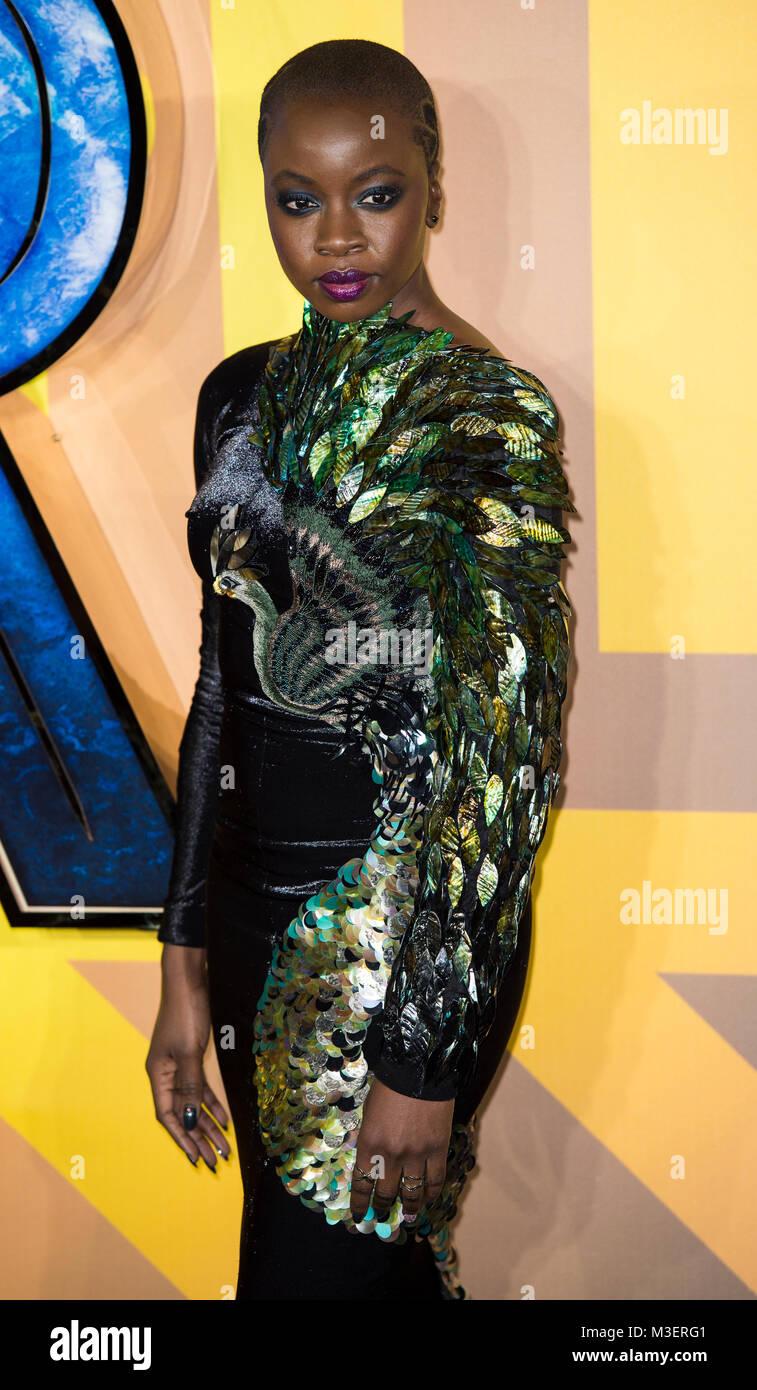 Danai Gurira attends the European Premiere of Marvel Studios' 'Black Panther' at the Eventim Apollo, - Stock Image