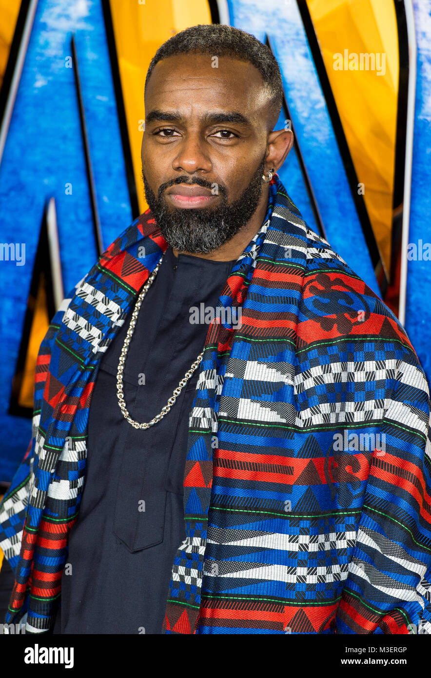 Charles Venn attends the European Premiere of Marvel Studios' 'Black Panther' at the Eventim Apollo, - Stock Image