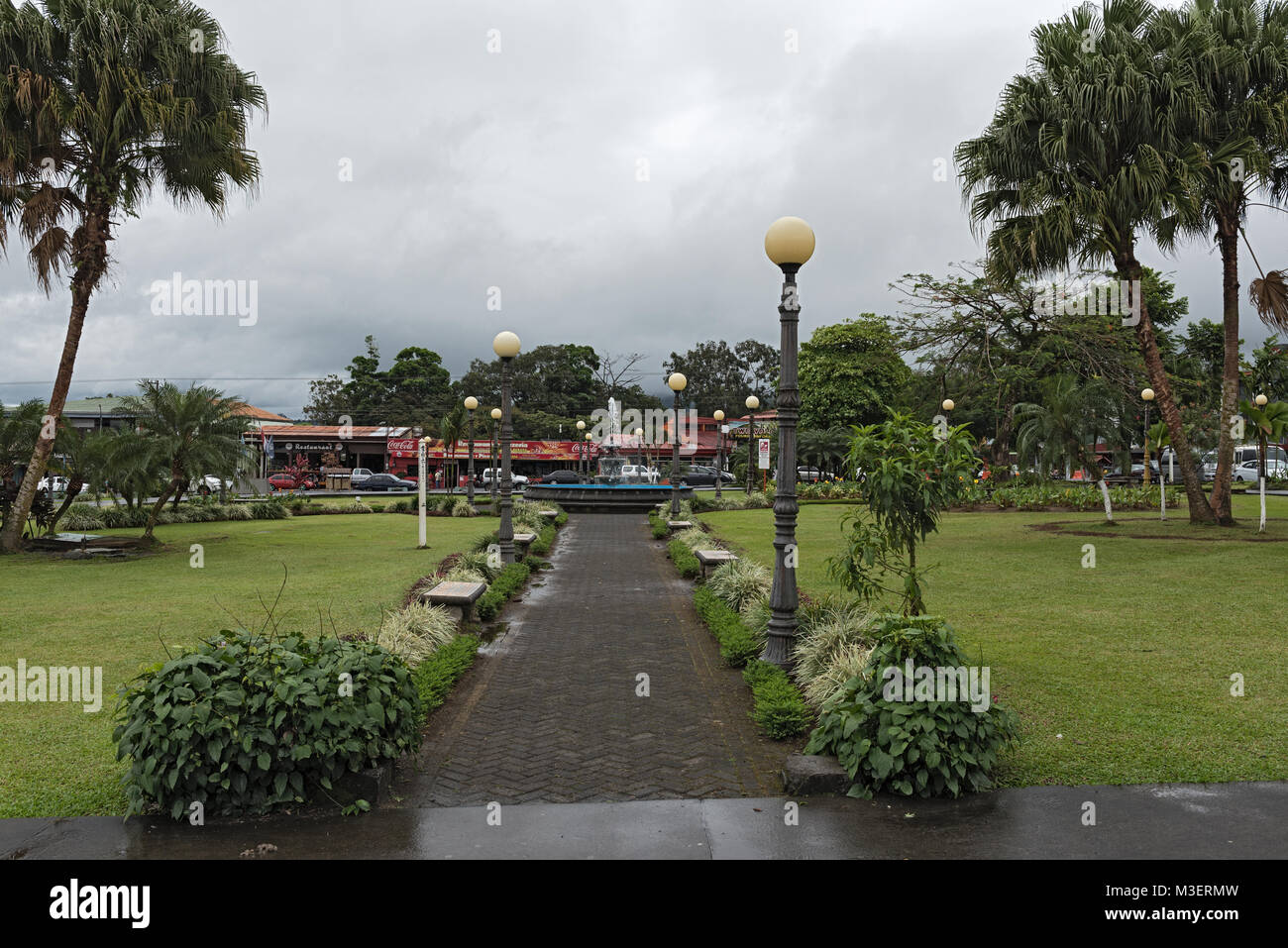 The Fortuna Park in La Fortuna in rainy weather, Costa Rica - Stock Image
