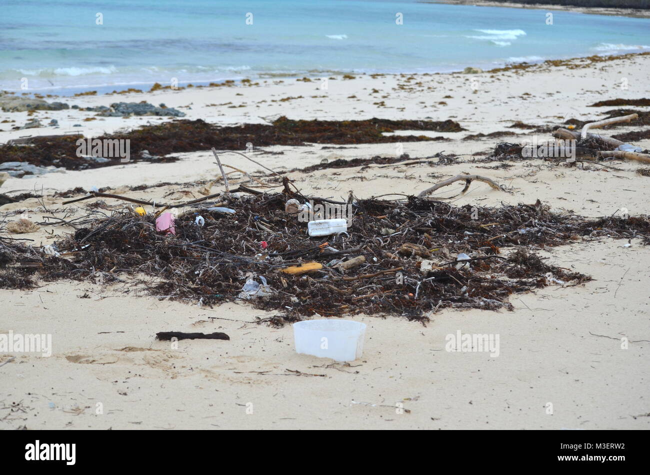 Garbage, plastic waste and heaps of dead marine plants and animals washed out on a beach in Cayo Coco Cuba after - Stock Image