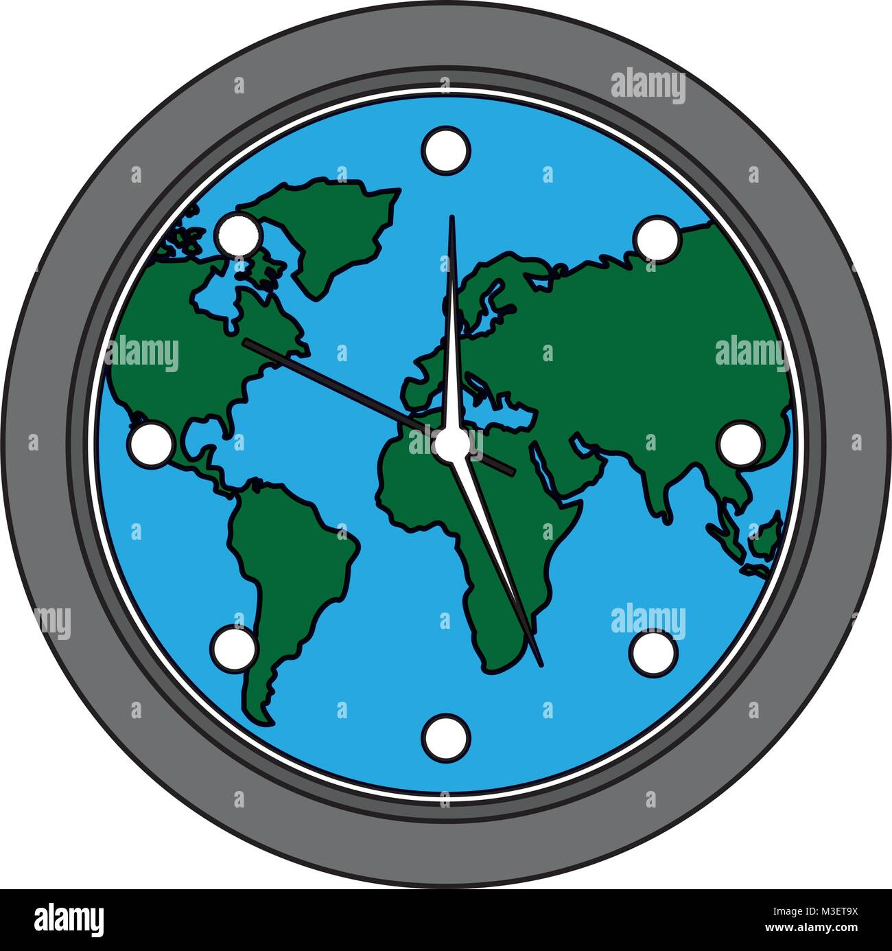 Round clock on world map stock vector art illustration vector round clock on world map gumiabroncs Images