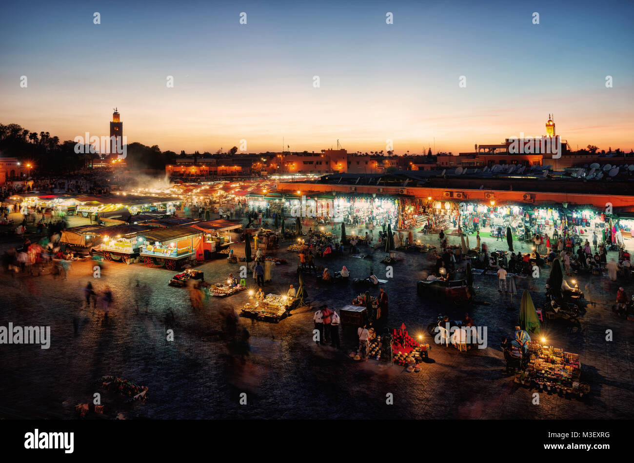 Marrakesh Market Square at Sunset taken in 2015 Stock Photo