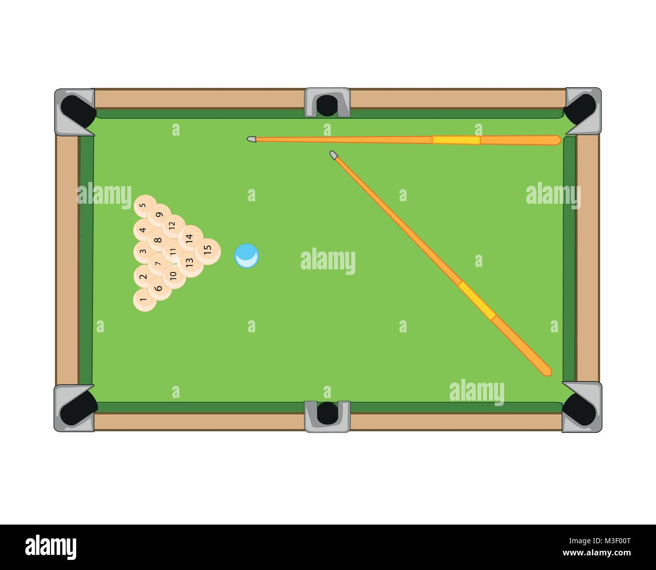 Billiard table and balls with cue on white background is insulated - Stock Vector