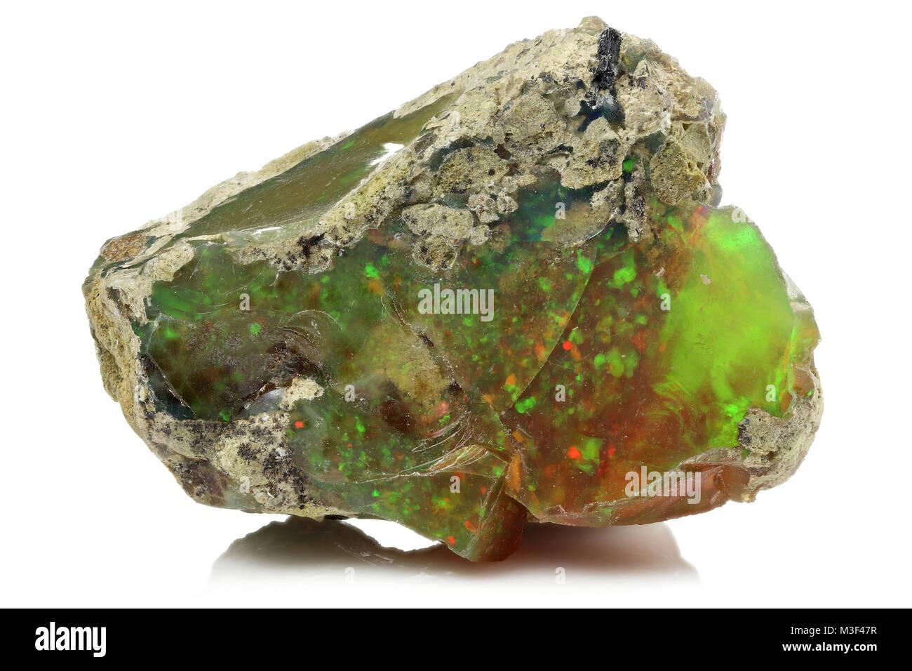 Ethiopian welo opal isolated on white background - Stock Image