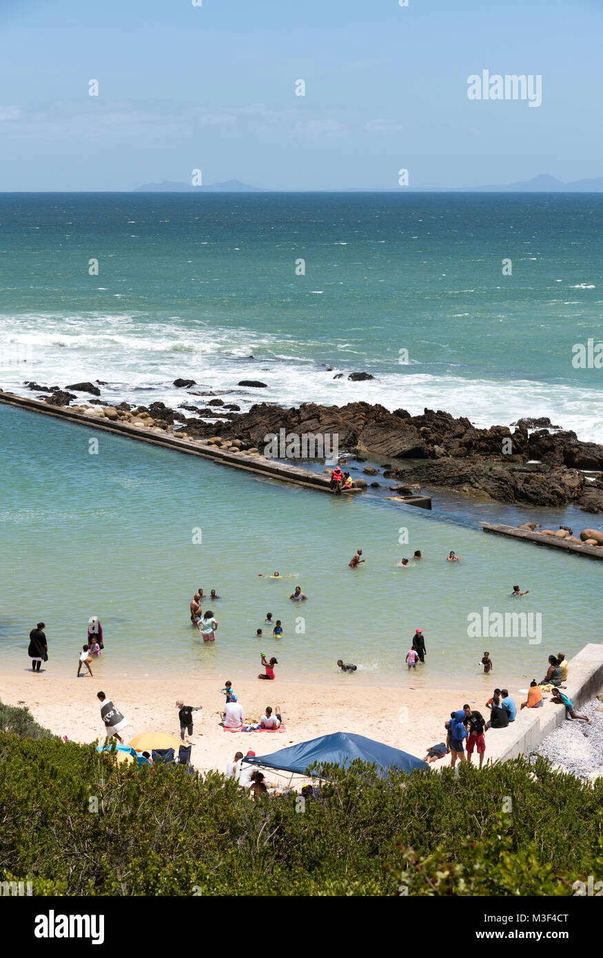 A saltwater swimming pool at Kogel Bay resort on False Bay, Western Cape, South Africa. - Stock Image