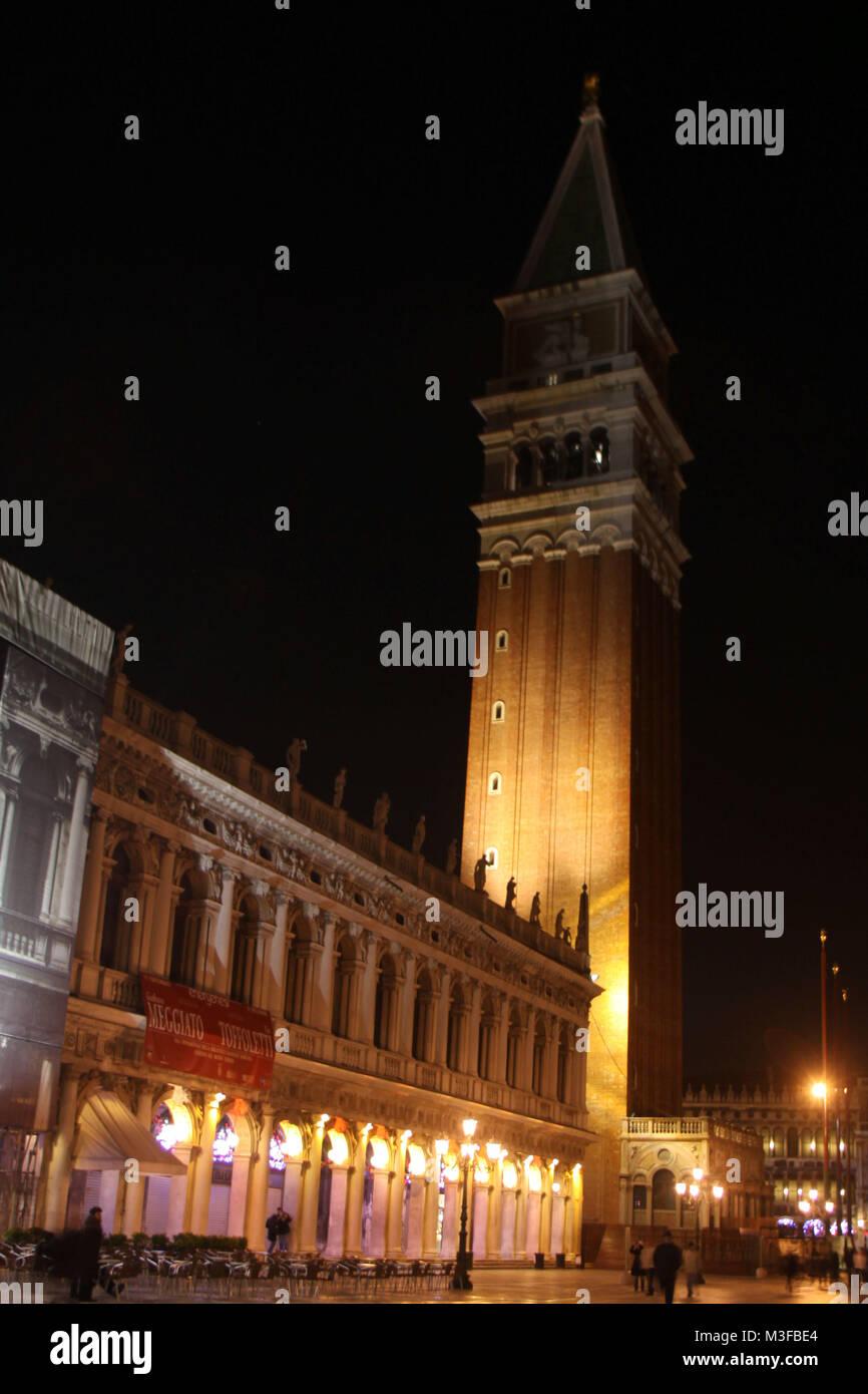 Venedig, Venice, Italien, Italy, Januar 2009, Nachtaufnahmen (Langzeitbelichtung), Campanile - Stock Image