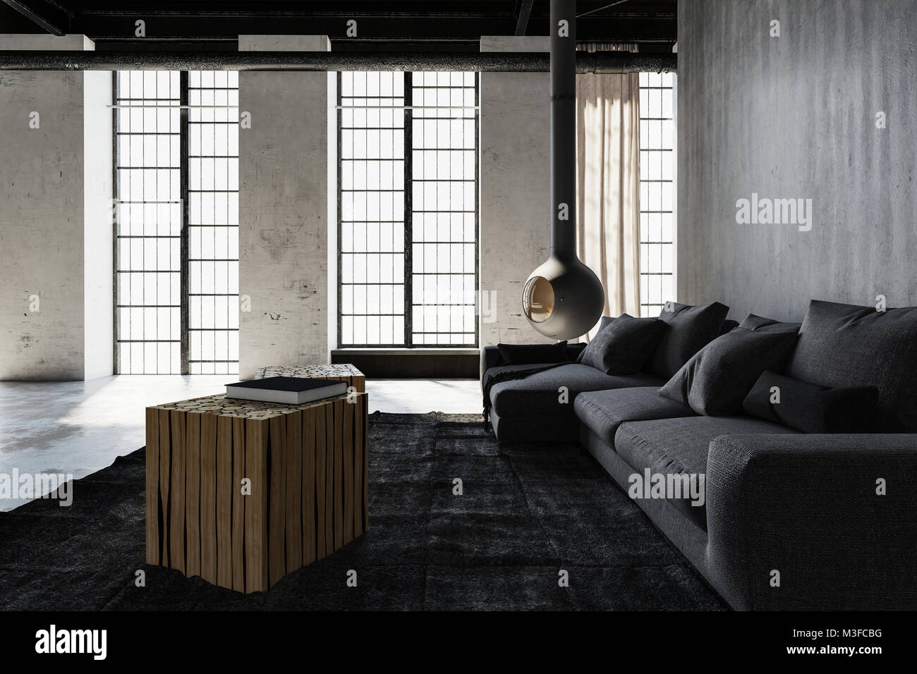 Modern Industrial Loft Conversion Living Room With Monochromatic Grey Decor And Grunge Cement Walls Lit By Daylight From Large Windows 3d Rendering