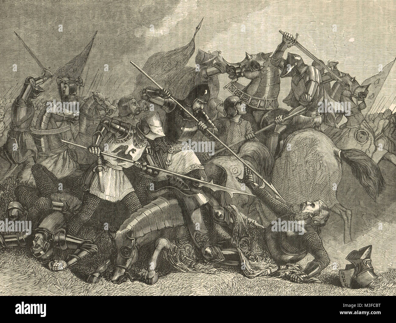 The Death of the Earl of Shrewsbury at the Battle of Castillon, 17 July 1453 - Stock Image