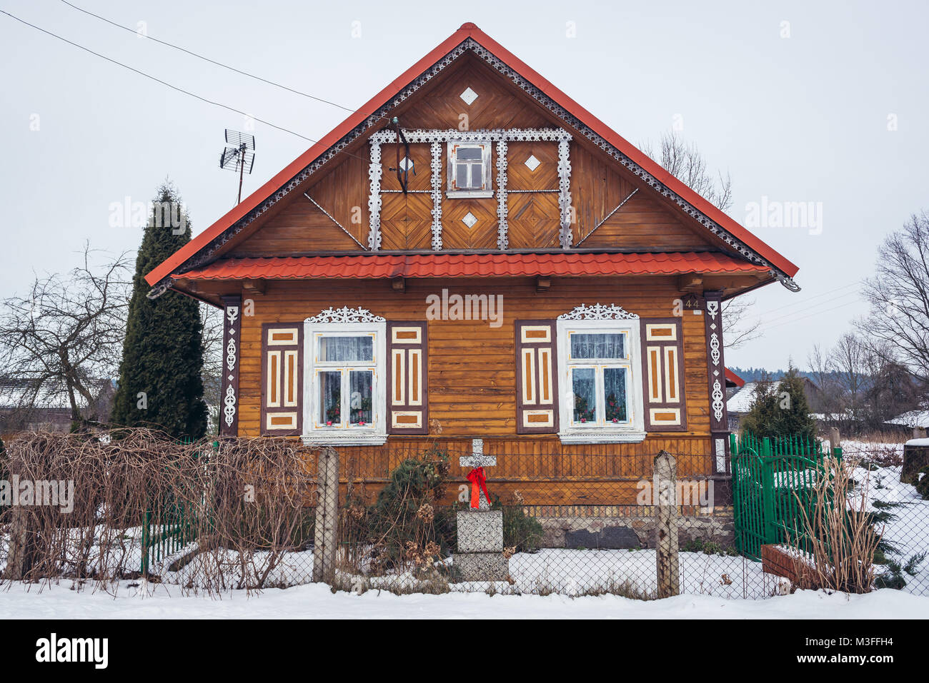 Wooden house in Soce village on so called The Land of Open Shutters trail, famous for traditional  architecture - Stock Image