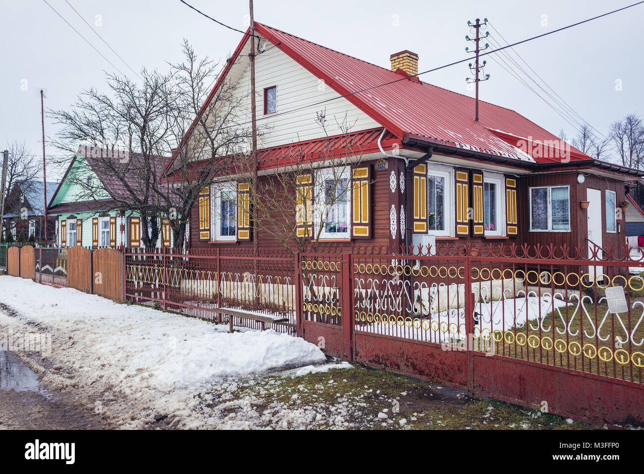 Wooden house in Soce village on so called Land of Open Shutters trail, famous for traditional architecture in Podlaskie - Stock Image