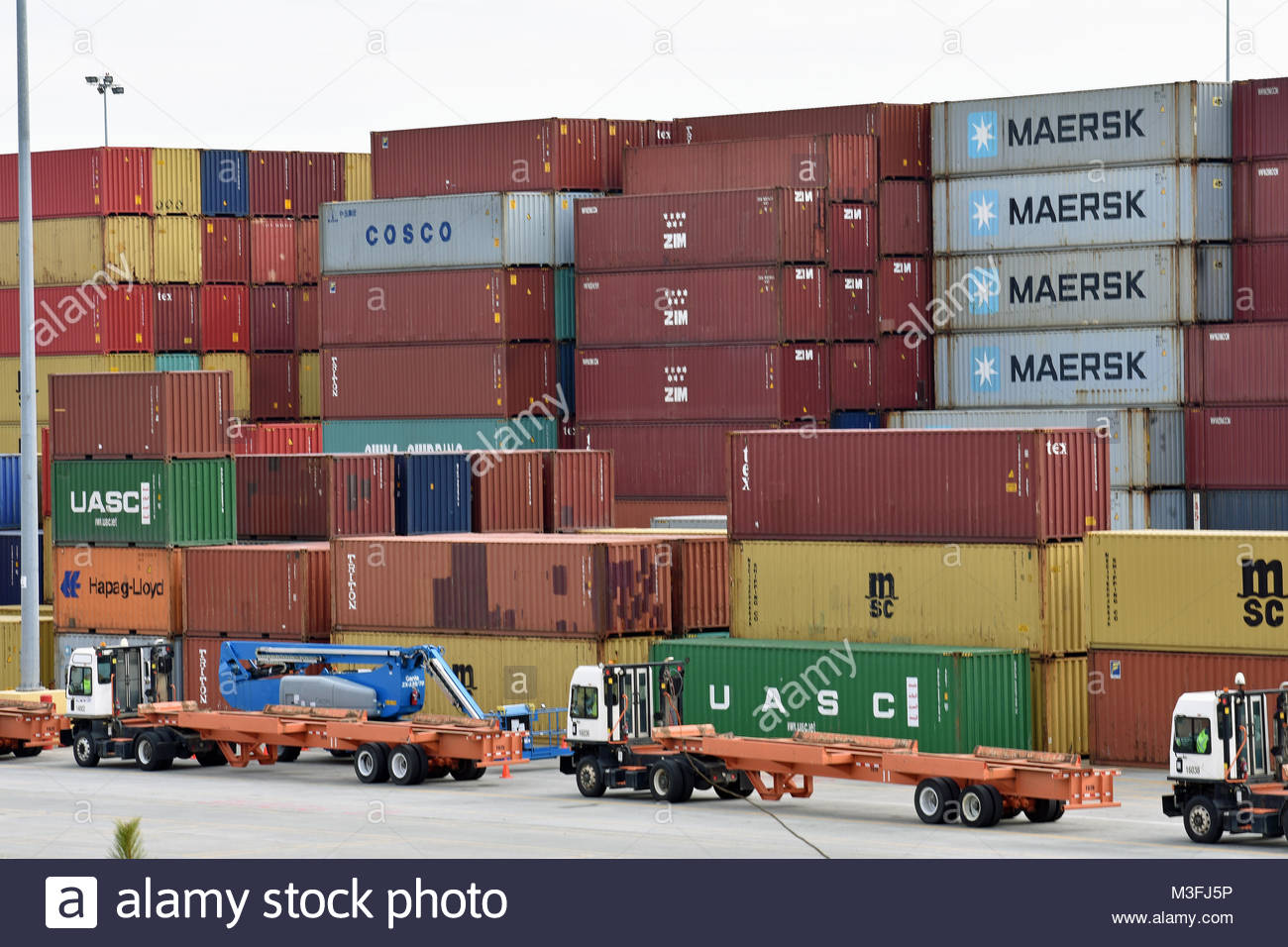 Inland Port greer (SC / USA) pictured with containers and yard trucks - Stock Image