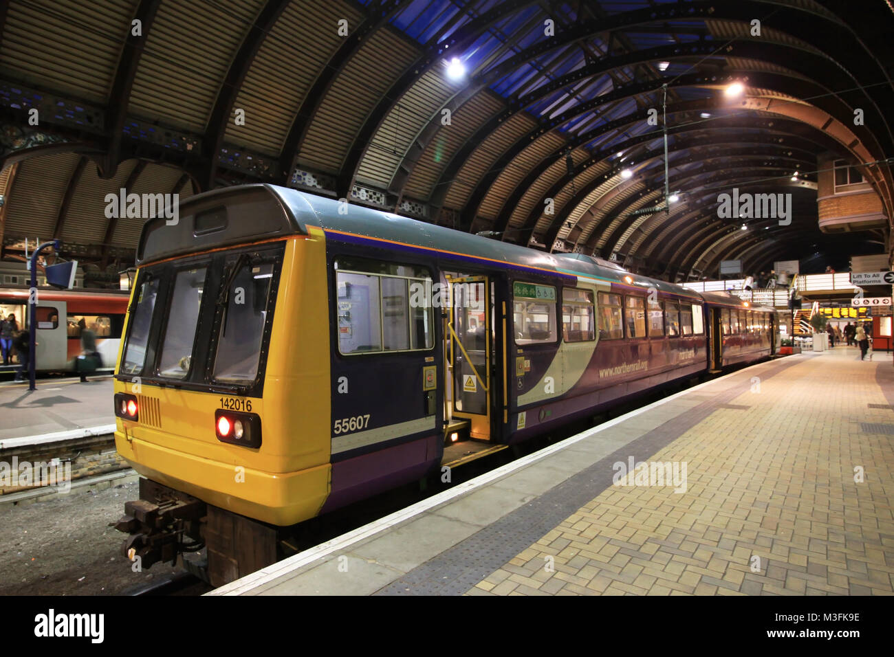 Northern Rail operated by Serco and Abellio Train Operating Company Class 142 142016 Diesel Multiple Unit DMU at - Stock Image