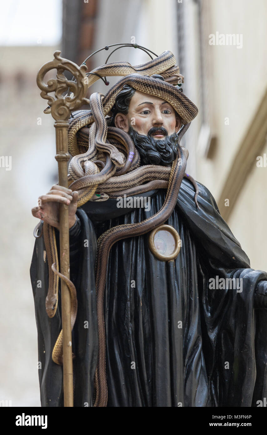 During the procession in Cocullo, the statue of San Domenico is covered with snakes. The wishes will be drawn from - Stock Image