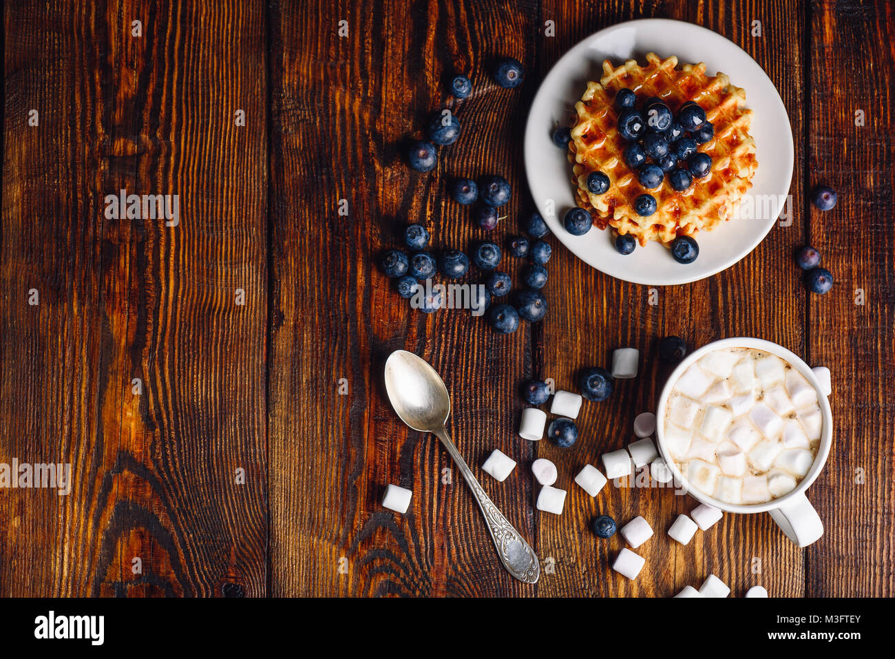 Cup of Hot Chocolate with Marshmallow and Homemade Waffles with Fresh Blueberry and Topping on Plate. Copy Space - Stock Image
