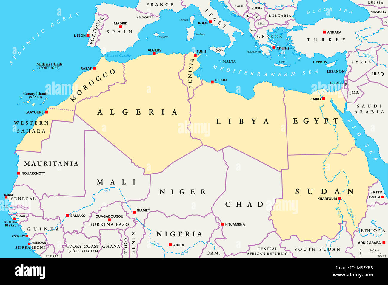 North Africa region, political map. Yellow colored area ...