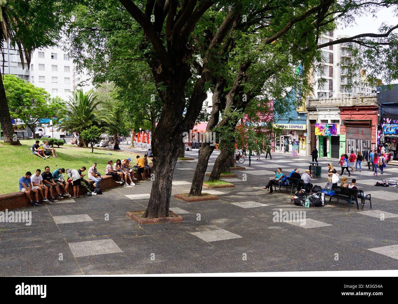 Open public space in downtown Montevideo, Uruguay. - Stock Image