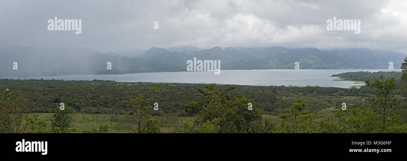 Panoramic view of the Lake Arenal in rainy weather, Costa Rica - Stock Image