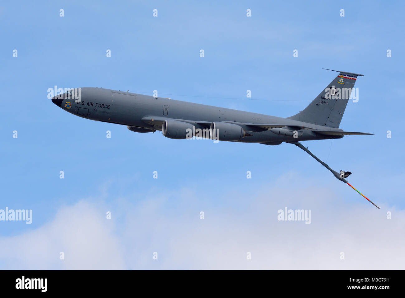 US Air Force Boeing KC-135R Stratotanker tanker transport plane trailing its refueling boom. Based at RAF Mildenhall, Stock Photo