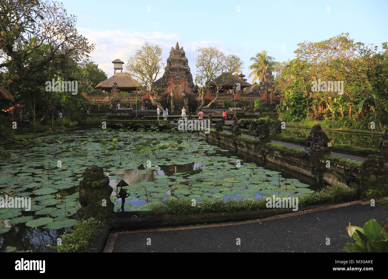 Pura Taman Saraswati Temple with lotus pond in foreground.Ubud.Bali.Indonesia - Stock Image