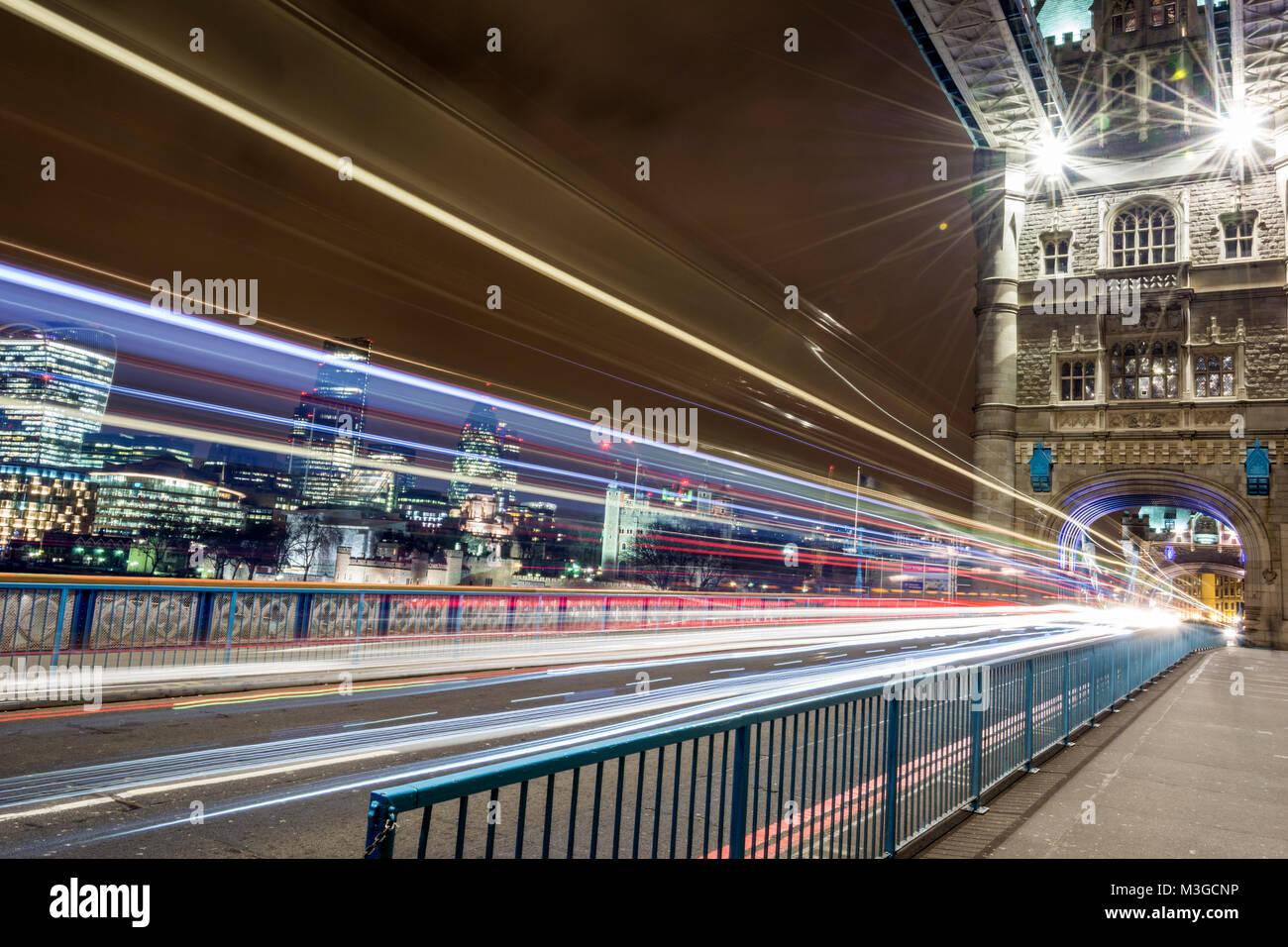 The Rush Hour - Tower Bridge, London - Stock Image