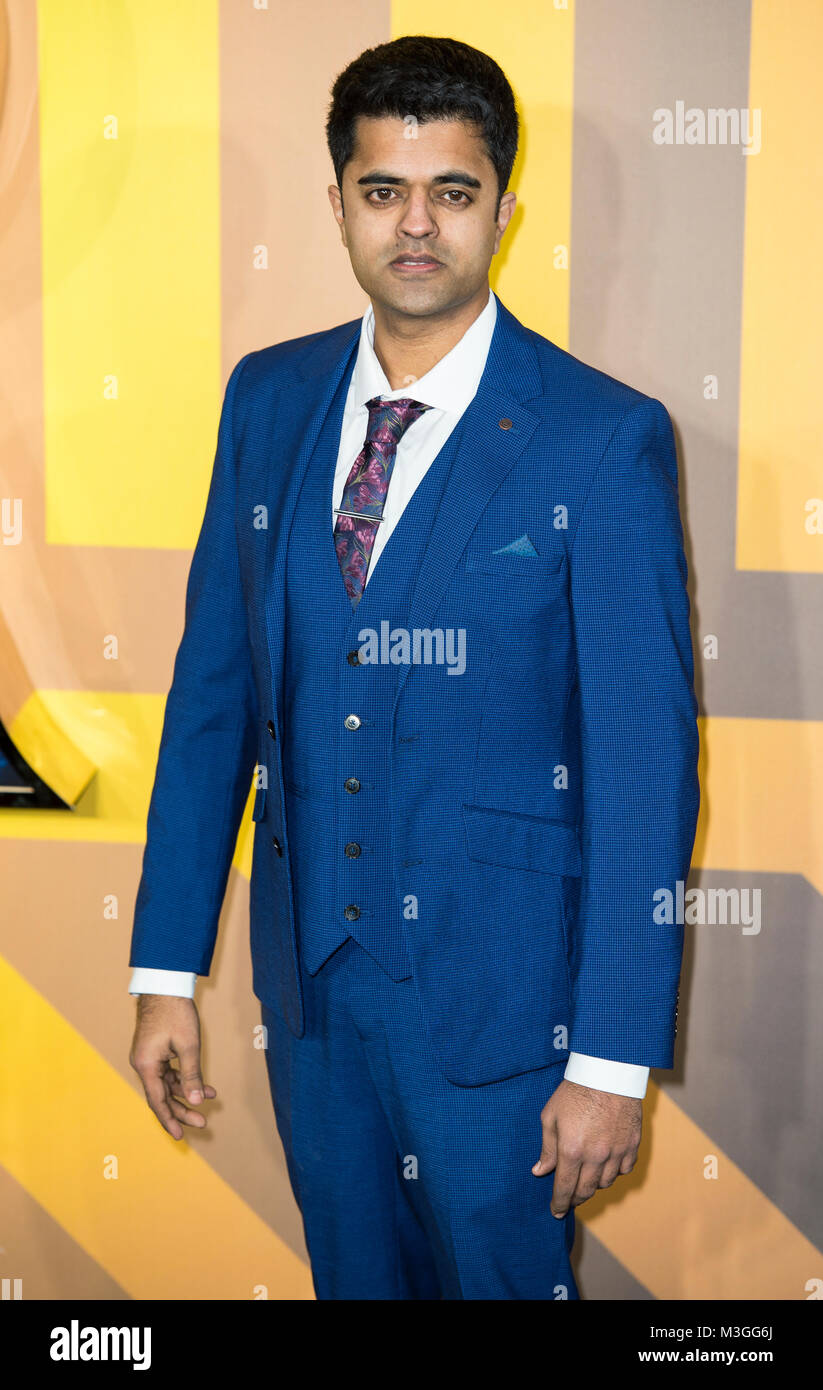 Divian Ladwa attends the European Premiere of Marvel Studios' 'Black Panther' at the Eventim Apollo, - Stock Image