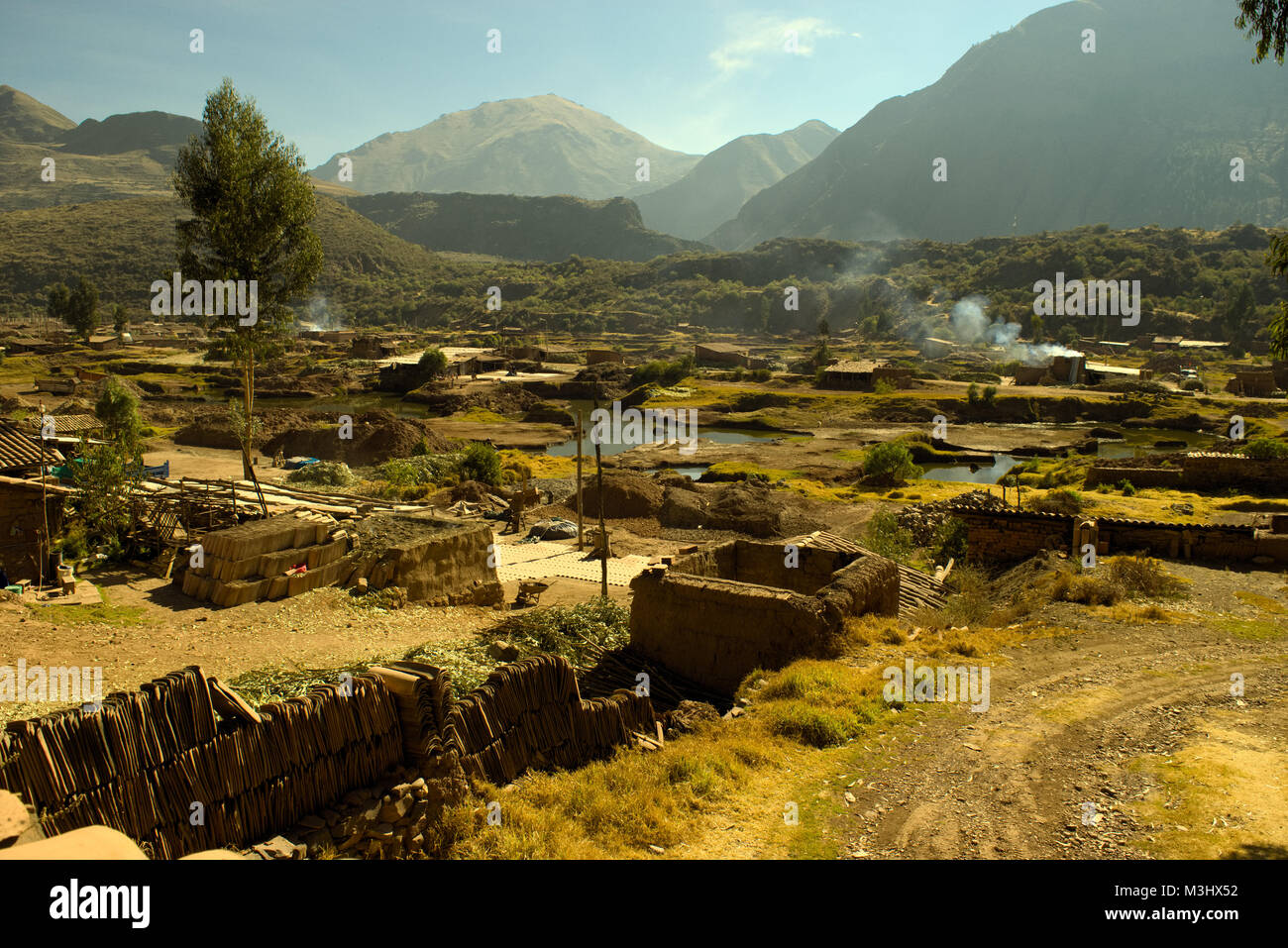 Clay Tiles manufacturer (Family own) Piñipampa, Cusco Peru - Stock Image
