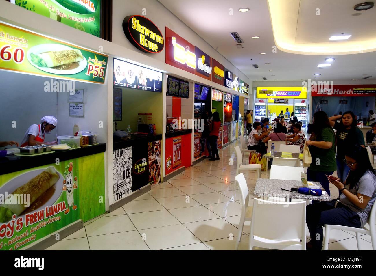 TAYTAY, RIZAL, PHILIPPINES - JANUARY 29, 2018: Food kiosks