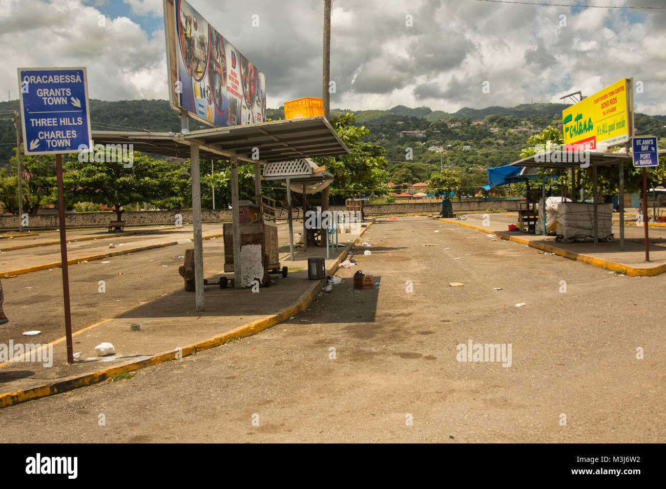 Ocho Rios bus station, Jamaica, West Indies, Caribbean - Stock Image